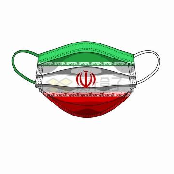 伊朗国旗图案的一次性医用口罩png图片免抠矢量素材