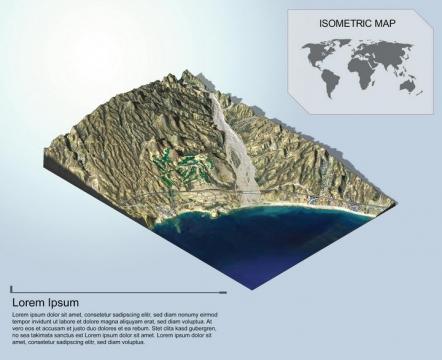 地理地质海边的高山和城镇地形地貌PS 3D模型图片模板