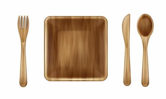木头制成的刀叉勺子和方形盘子等西餐餐具png图片免抠矢量素材