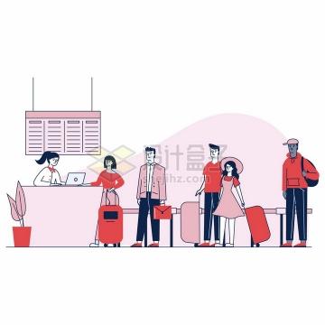 在机场排队处理机票事务手绘插画png图片免抠矢量素材