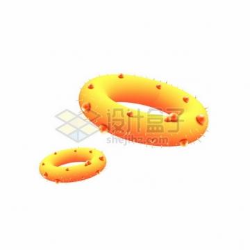 黄色圆环状的3D立体细菌病毒768487png图片素材