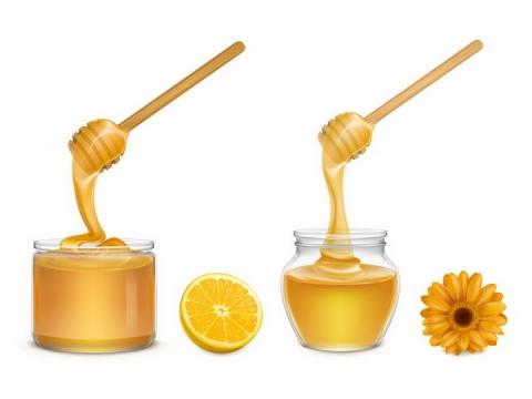 逼真的蜂蜜棒蜂蜜罐和美味的蜂蜜美食图片png免抠素材