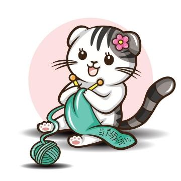 可爱卡通猫咪正在织毛衣图片免抠矢量素材