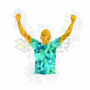 彩色多边形组成的高举双手欢呼胜利的运动员png图片免抠矢量素材