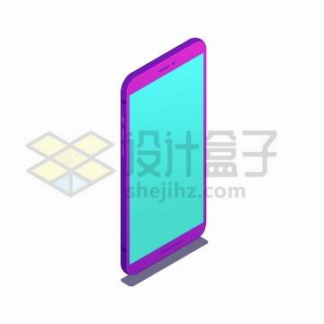 2.5D风格紫色智能手机竖直放置png图片免抠矢量素材