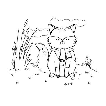 手绘风格穿着衣服坐在地上的宠物狐狸简笔画图片免抠素材