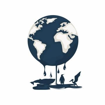 融化的石油组成的地球象征了石油泄漏对海洋生态环境的污染png图片免抠eps矢量素材