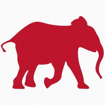 一头奔跑的红色大象剪影340762png图片免抠素材