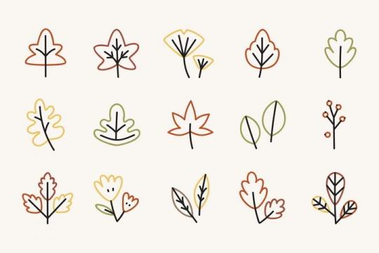 极简风格的线条树叶图片免抠素材
