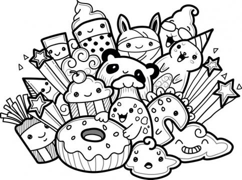 卡通美食甜甜圈薯条等手绘图片免抠素材