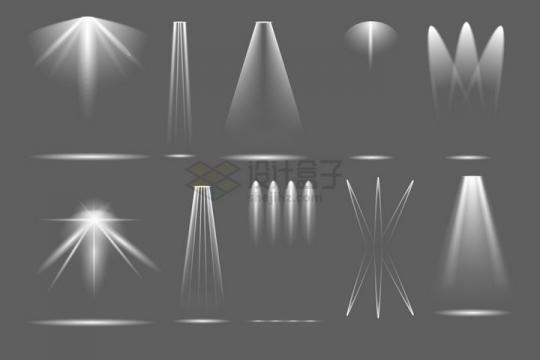 各种白色光照效果聚光灯照明效果png图片免抠矢量素材