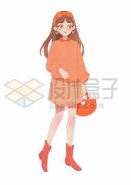 一身橘色衣服的卡通美少女png图片免抠素材