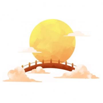中国风中秋节黄色的月亮和拱桥718055png图片素材