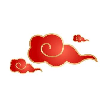金色描边风格红色中国风祥云图案png图片免抠素材