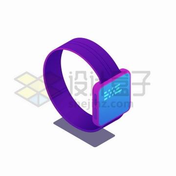 2.5D风格显示信息的智能手表png图片免抠矢量素材
