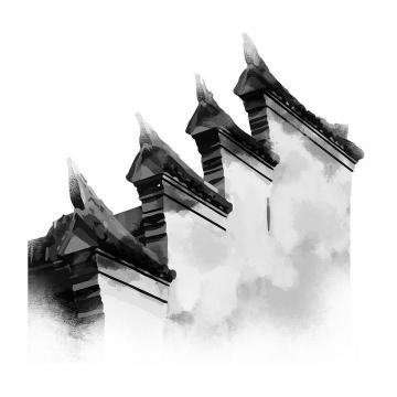 立体水墨画风格中国传统建筑徽式建筑屋檐png免抠图片