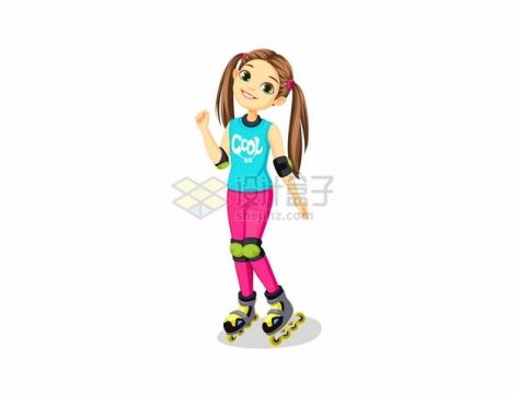 双马尾卡通女孩玩滑轮鞋995240png图片素材