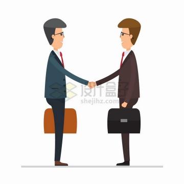 拎着公文包握手的商务人士合作共赢png图片免抠矢量素材