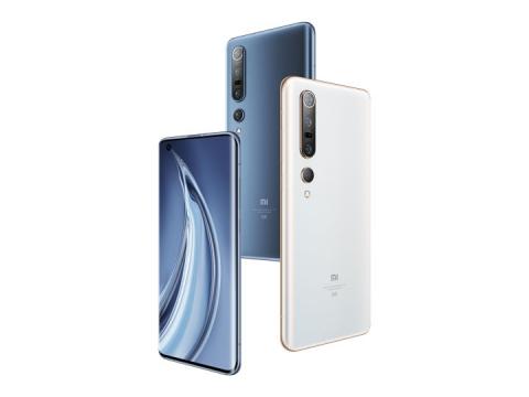 白色蓝色的小米10Pro手机png图片免抠素材