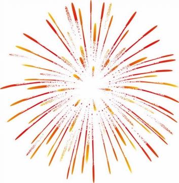 怒放的红色橙色烟花图案png图片免抠素材