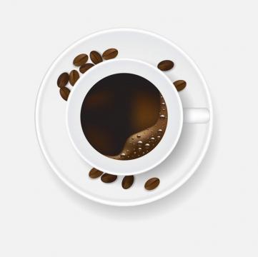 俯视视角的冒着泡沫的咖啡和咖啡豆饮料图片免抠素材