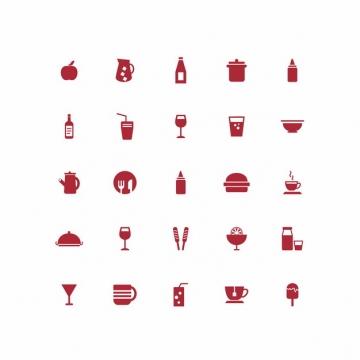 二十五款水果果汁牛奶餐具炊具杯子等厨房用品红色图标478814免抠图片素材