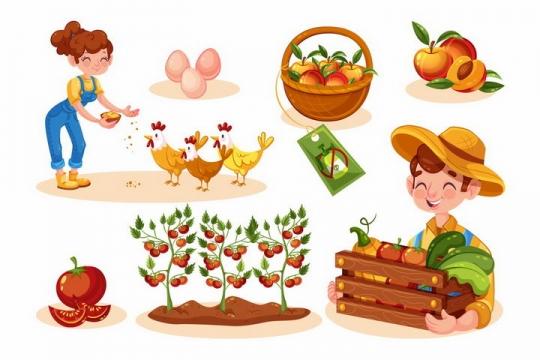 各种卡通农民喂鸡鸡蛋桃子西红柿等有机蔬菜水果png图片免抠素材