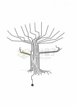 创意黑色线条电路组成的大树形状png免抠图片素材