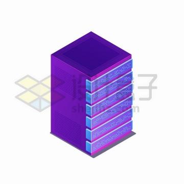 2.5D风格紫色服务器机架png图片免抠矢量素材