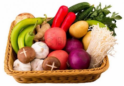 竹篮中的香菇大蒜洋葱金针菇辣椒生姜黄瓜等蔬菜png免抠图片素材