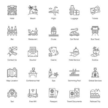 25款黑色线条风格旅游交通等icon图标图片免抠矢量素材