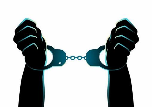 黑色插画风格戴着手铐枷锁的双手png图片免抠素材