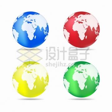 蓝色红色黄色和绿色地球模型png图片素材