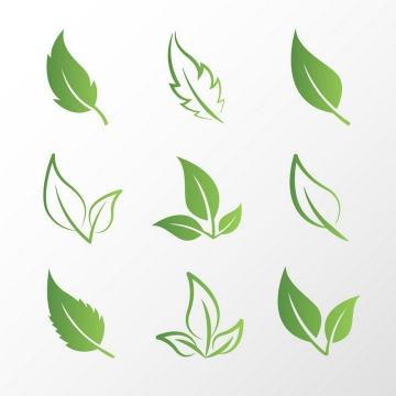 9款简约风格绿色树叶图案图片免抠素材
