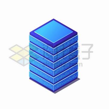 2.5D风格蓝色服务器机架png图片免抠矢量素材