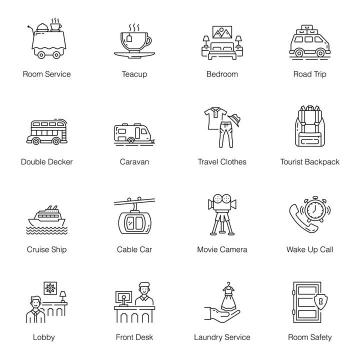 16款黑色线条风格旅游出行娱乐类icon图标图片免抠矢量素材