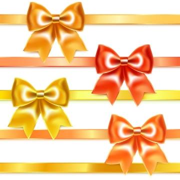 4种黄色橙色红色蝴蝶结丝带装饰图片免抠素材
