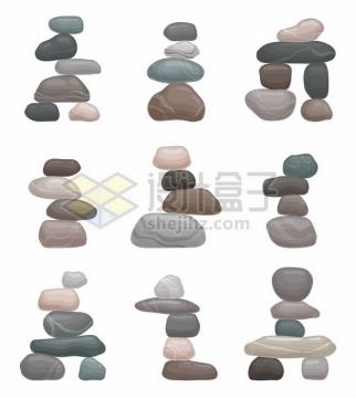 9款放在一起的石块石头515396png矢量图片素材