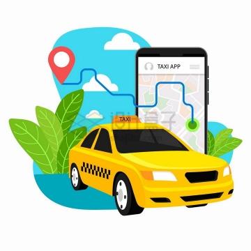 黄色出租车手机打车APP服务插画png图片免抠矢量素材