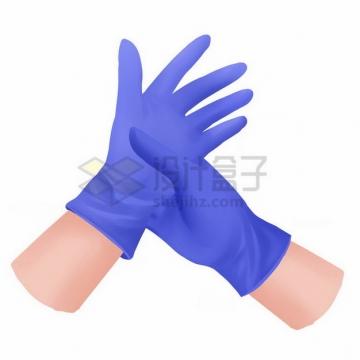 戴着紫色一次性橡胶手套的双手566329png免抠图片素材