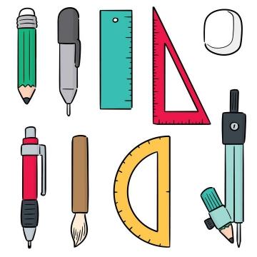 手绘简笔画风格办公物品铅笔直尺三角尺圆规图片免抠素材