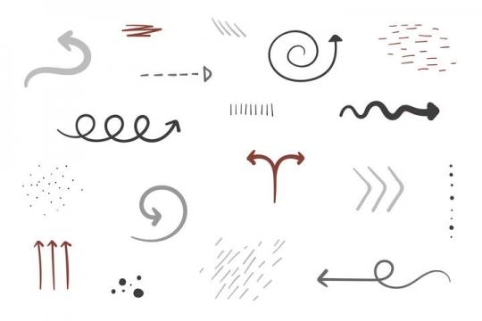 各种手绘涂鸦风格线条箭头和装饰图片免抠素材