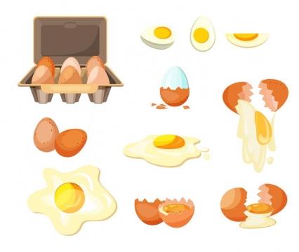煎蛋切开的熟鸡蛋破碎的鸡蛋等图片免抠素材