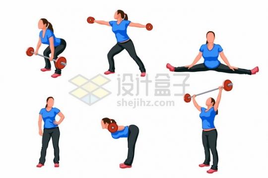 举杠铃哑铃一字马拉伸的健身女孩241013png矢量图片素材