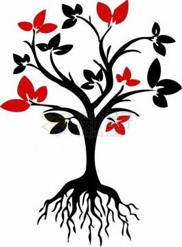 带树根的大树剪影和红色树叶png免抠图片素材