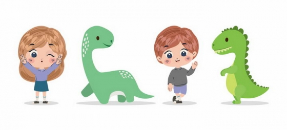 卡通男孩女孩和绿色恐龙png图片免抠素材