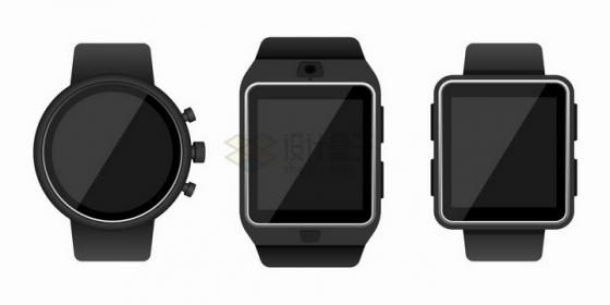 3款不同形状的智能手表png图片免抠矢量素材