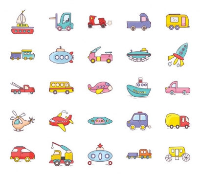 25款卡通风格轮船叉车电动车汽车潜艇飞机等交通工具icon图标图片免抠矢量素材