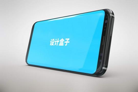 黑色智能手机模型顶部屏幕显示样机图片设计素材