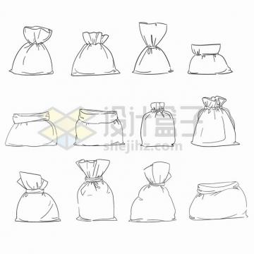 12款塑料袋布袋子手绘线条插画png图片素材
